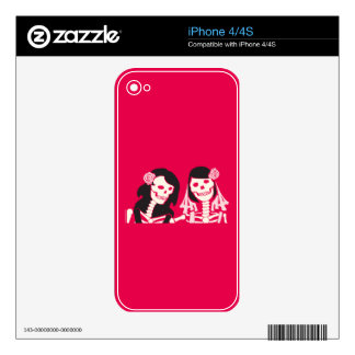 Female Skeleton Couple Skins For The iPhone 4