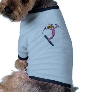 Female Skier Cartoon Doggie Tee