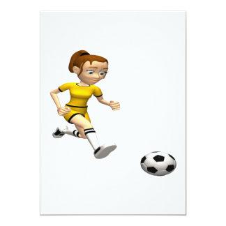 Female Soccer Player 5x7 Paper Invitation Card