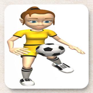 Female Soccer Player Beverage Coaster