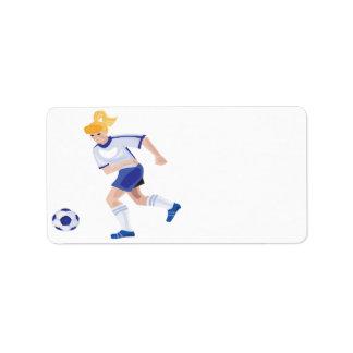 Female Soccer Player Label