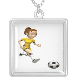 Female Soccer Player Square Pendant Necklace