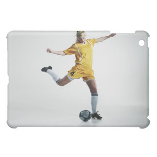 Female soccer player preparing to kick soccer case for the iPad mini