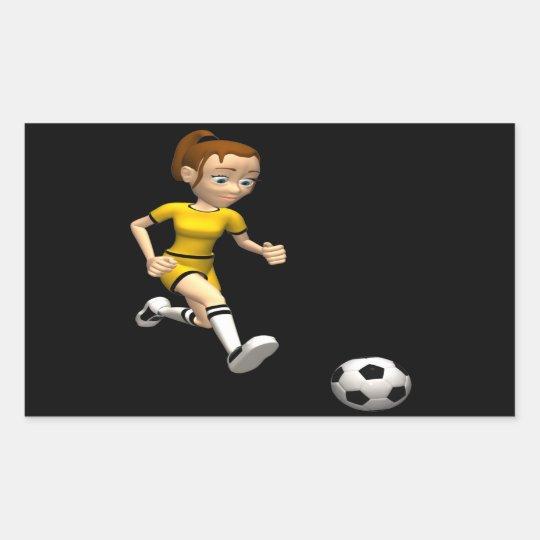 Female Soccer Player Rectangular Sticker