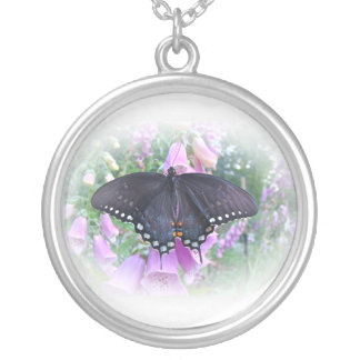Female Spicebush Swallowtail Butterfly Silver Plated Necklace