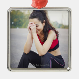 Female sports metal ornament