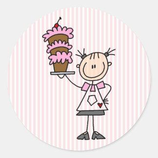 Female Stick Figure Baker Classic Round Sticker