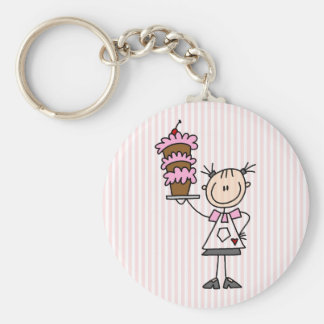 Female Stick Figure Baker Keychain