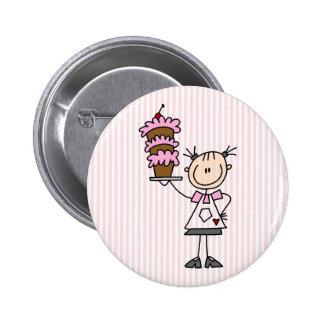 Female Stick Figure Baker Pinback Button