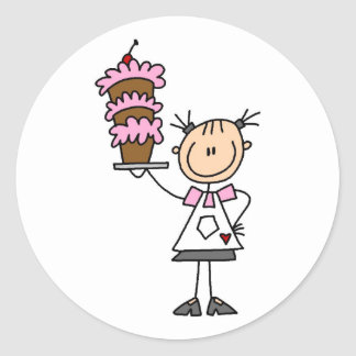 Female Stick Figure Baker Tshirts and Gifts Classic Round Sticker