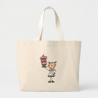 Female Stick Figure Baker Tshirts and Gifts Large Tote Bag