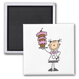 Female Stick Figure Baker Tshirts and Gifts 2 Inch Square Magnet