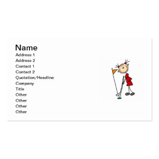 Female Stick Figure Golfer Double-Sided Standard Business Cards (Pack Of 100)