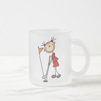 Female Stick Figure Golfer Frosted Glass Coffee Mug