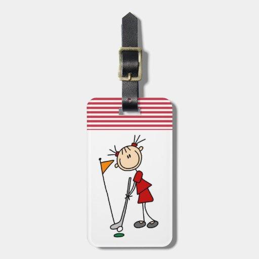 Female Stick Figure Golfer Luggage Tags