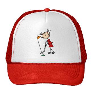 Female Stick Figure Golfer Mesh Hats