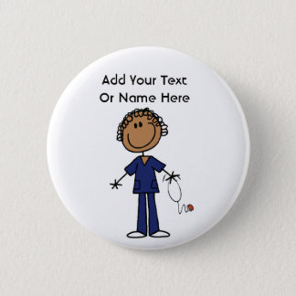 Female Stick Figure Nurse Aid T-shirts and Gifts Button