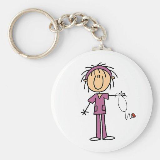 Female Stick Figure Nurse Keychains