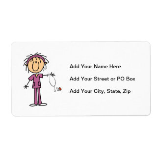 Female Stick Figure Nurse Label