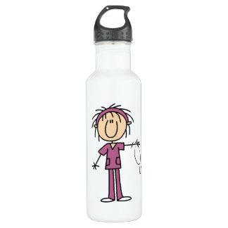 Female Stick Figure Nurse Stainless Steel Water Bottle