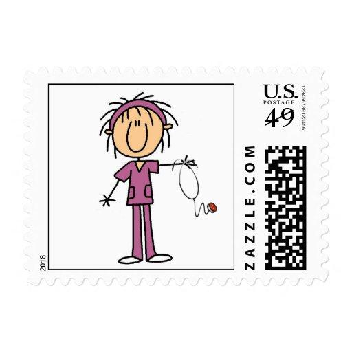 Female Stick Figure Nurse Stamp
