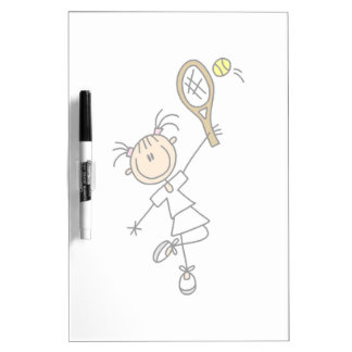 Female Stick Figure Tennis Player Dry-Erase Board