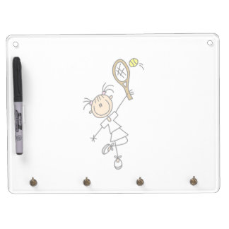 Female Stick Figure Tennis Player Dry Erase Board With Keychain Holder