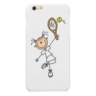 Female Stick Figure Tennis Player Glossy iPhone 6 Plus Case