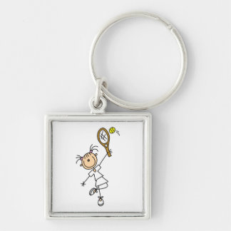 Female Stick Figure Tennis Player Silver-Colored Square Keychain