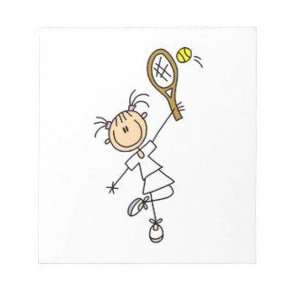 Female Stick Figure Tennis Player Note Pad