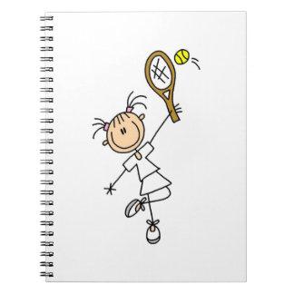 Female Stick Figure Tennis Player Notebook