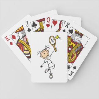 Female Stick Figure Tennis Player Playing Cards