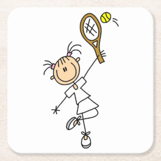 Female Stick Figure Tennis Player Square Paper Coaster