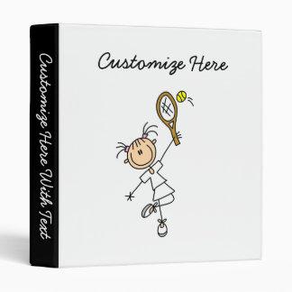 Female Stick Figure Tennis Player Vinyl Binder