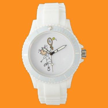 Female Stick Figure Tennis Player Wristwatch