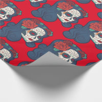 Female Sugar Skull Big Red Roses Wrapping Paper