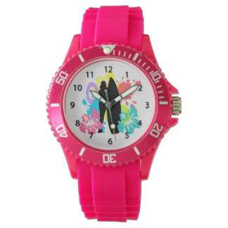 Female Surfer, Colorful Hibiscus Watches for Women