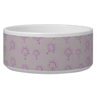 Female symbol happy face for girls women feminists pet water bowl