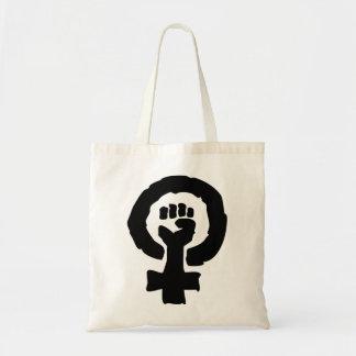 Female symbol solidarity hand tote bag