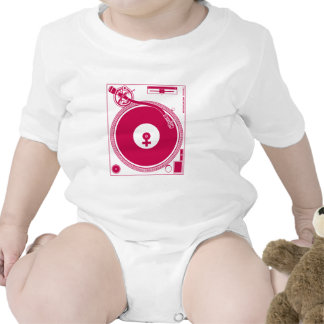 Female Symbol Turntable Deck - DJ Disc Jockey Baby Bodysuit