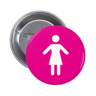 Female symbol, white woman on hot pink background pinback button