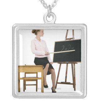 Female Teacher Pointing Ruler at Chalkboard Silver Plated Necklace