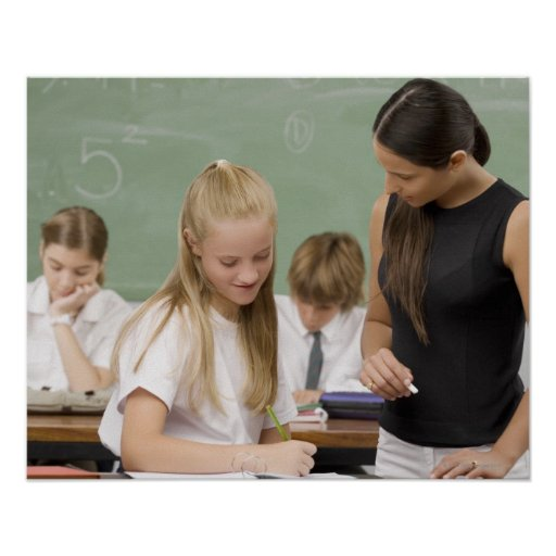 Female teacher teaching a schoolgirl with other poster