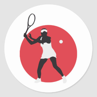 female tennis more player classic round sticker