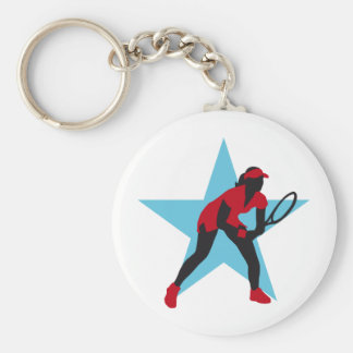 female tennis more player keychain