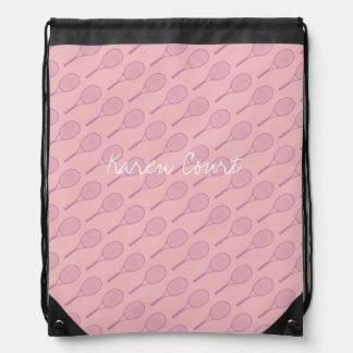 female tennis pattern pink personalized drawstring bag