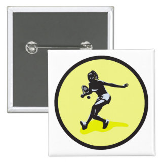 female tennis player pinback buttons