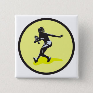 female tennis player pinback button