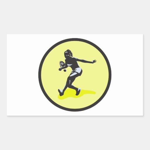 female tennis player rectangular sticker