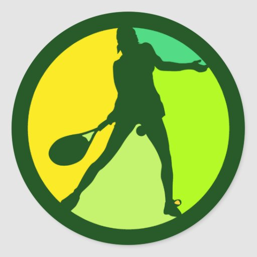 FEMALE TENNIS PLAYER ROUND STICKERS